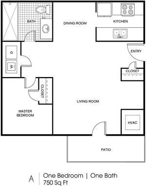 A - 1 Bedroom / 1 Bath - 750 Sq.Ft.*