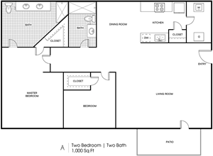 A - 2 Bedroom / 2 Bath - 1,000_Sq.Ft.*