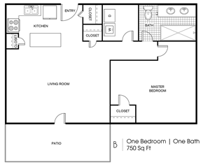 B - 1  Bedroom / 1 Bath - 750 Sq.Ft.*