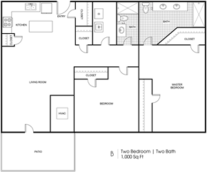 B - 2 Bedroom / 2 Bath - 1000 Sq.Ft.*